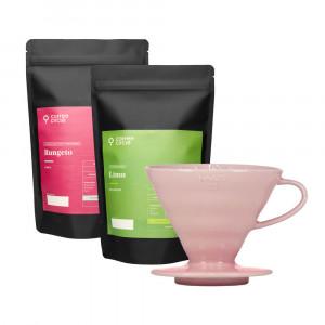 Rosa Hario V60 & Kaffee im Set