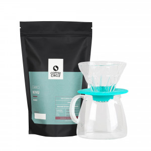 Hario V60 Glass Dripper & Kaffee im Set - türkis