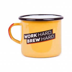 "Emaille Tasse ""Work hard, brew hard"""