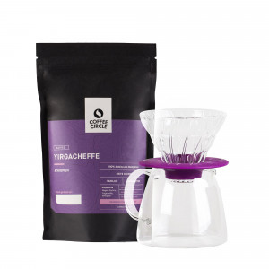 Hario V60 Glass Dripper & Kaffee im Set - violett